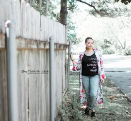 Blue Kimono Love Tee Boyfriend Jeans and Earth Sandals {living outside the stacks}