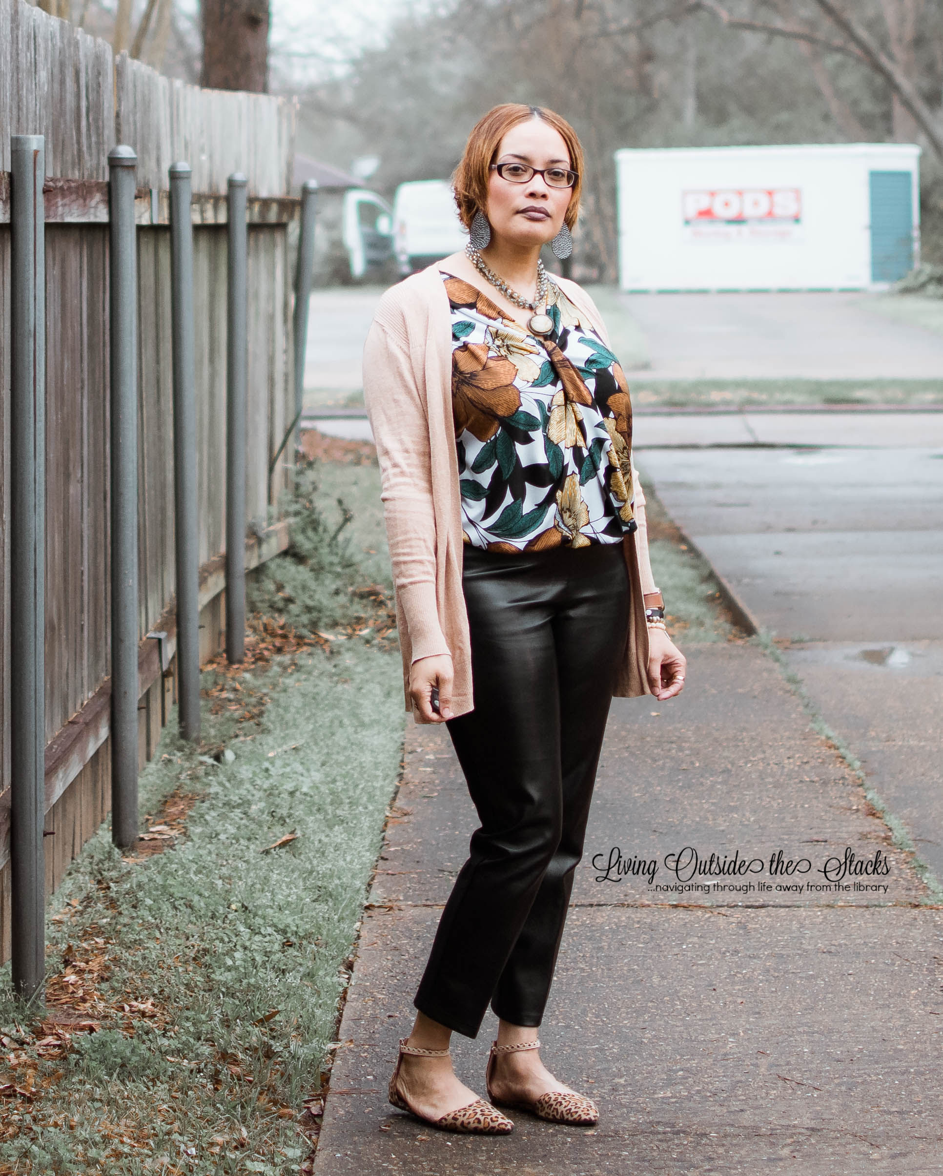 Cardi Leaf Blouse Faux Leather Pants {living outside the stacks}