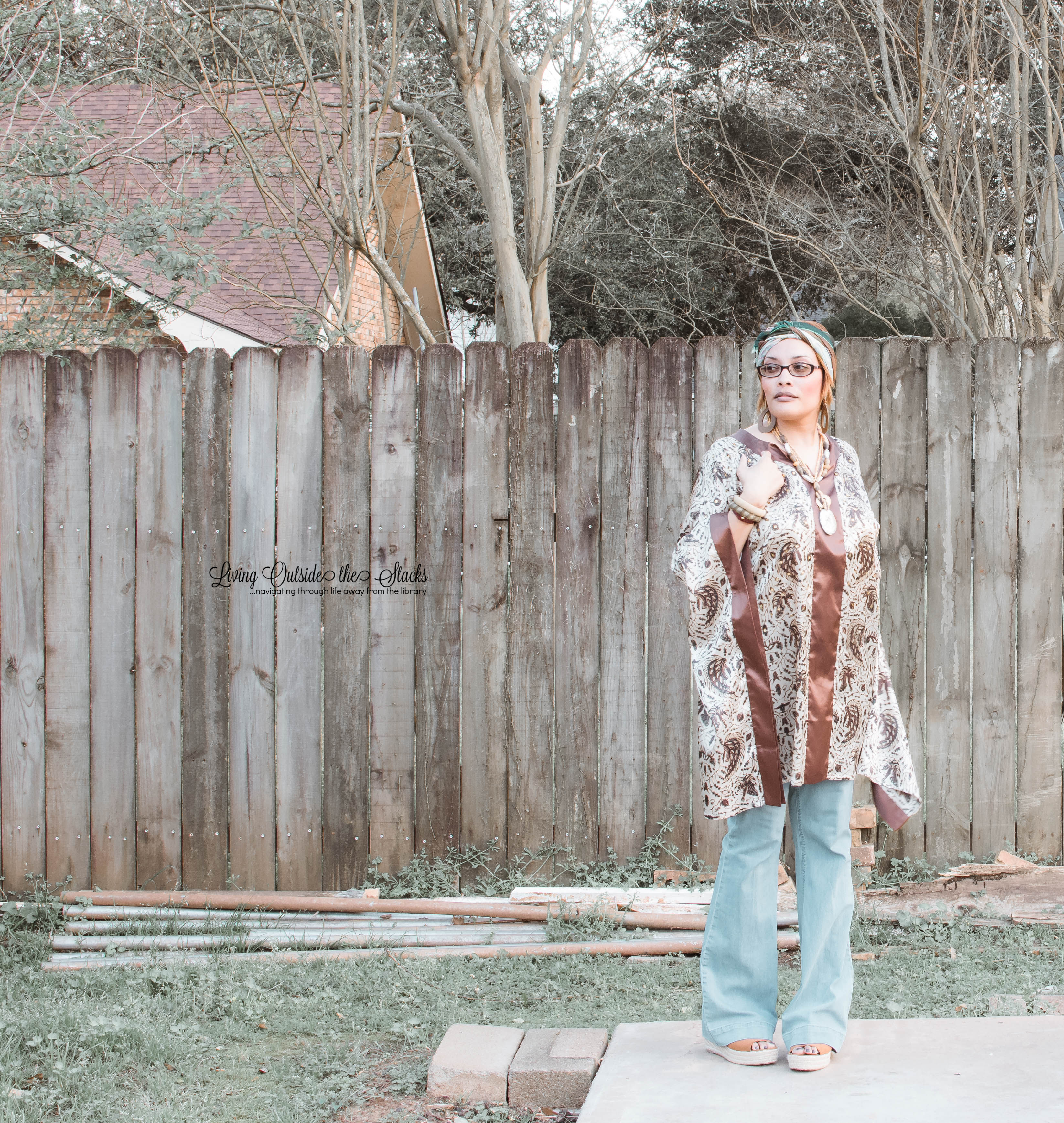 Daenel T {living outside the stacks} Caftan Flare Leg Jeans and Platform Sandals