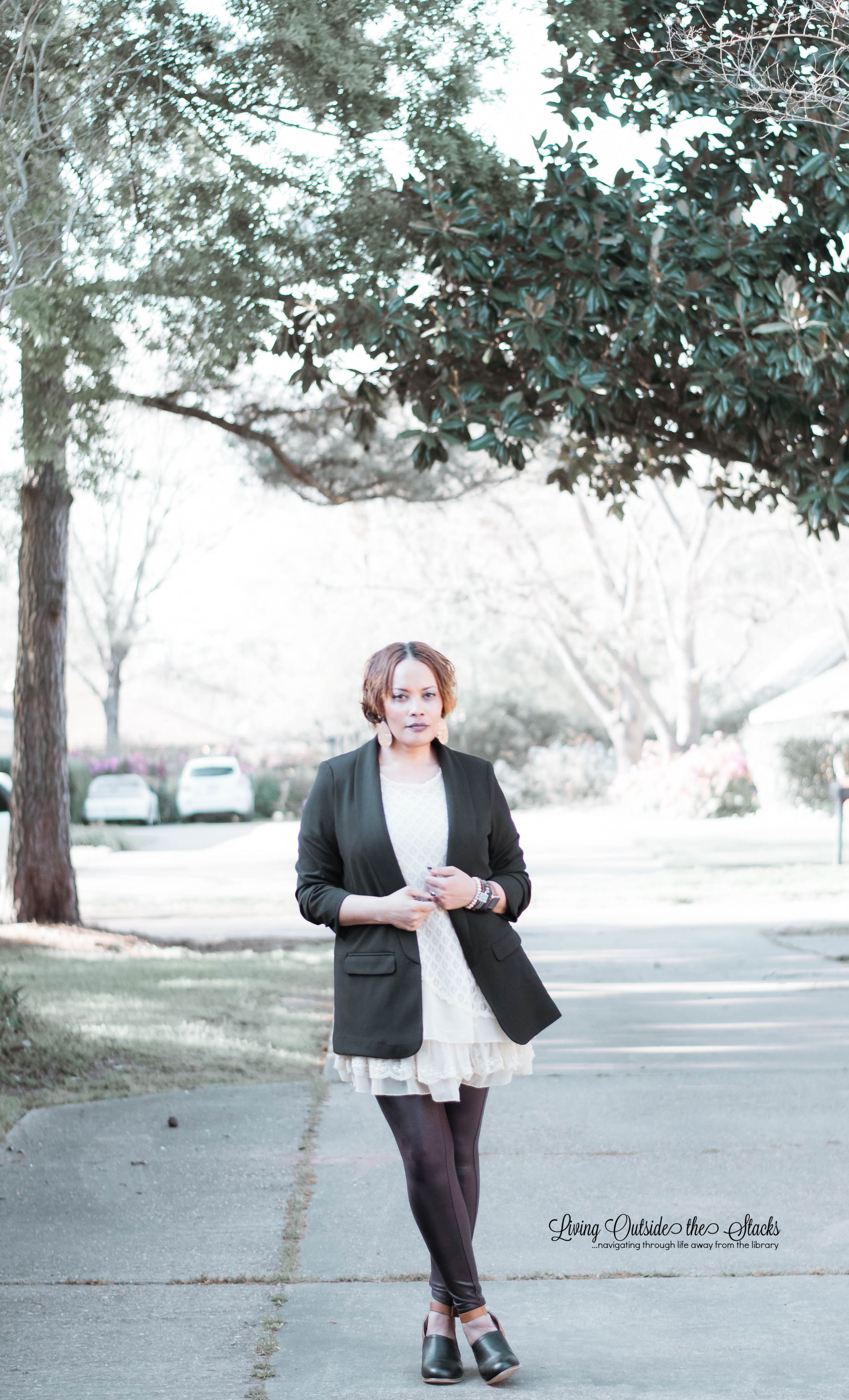 Blazer Tunic Faux Leather Leggings {living outside the stacks}