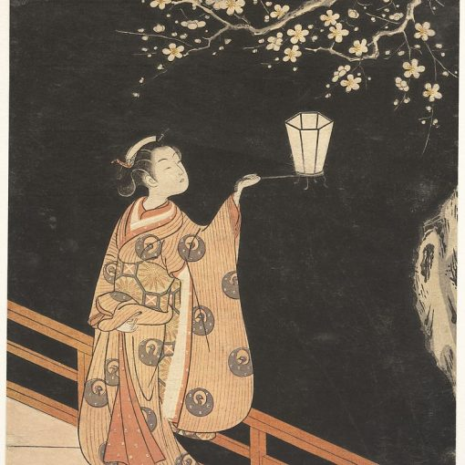 Woman Admiring Plum Blossoms at Night by Suzuki Harunobu