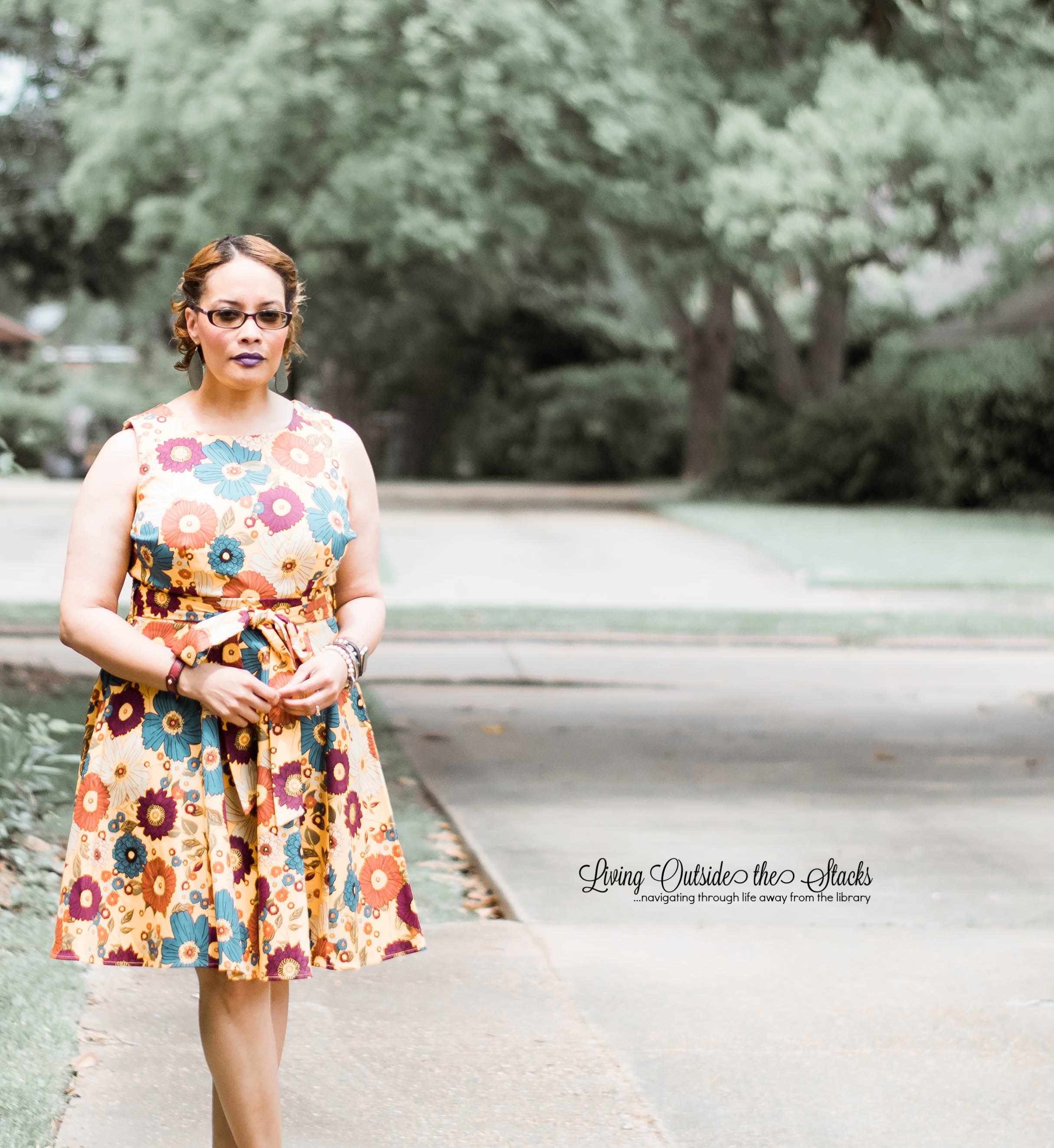 Daenel T {living outside the stacks} Yellow Floral Dress and Camel Sandals #StyleImitatingArt