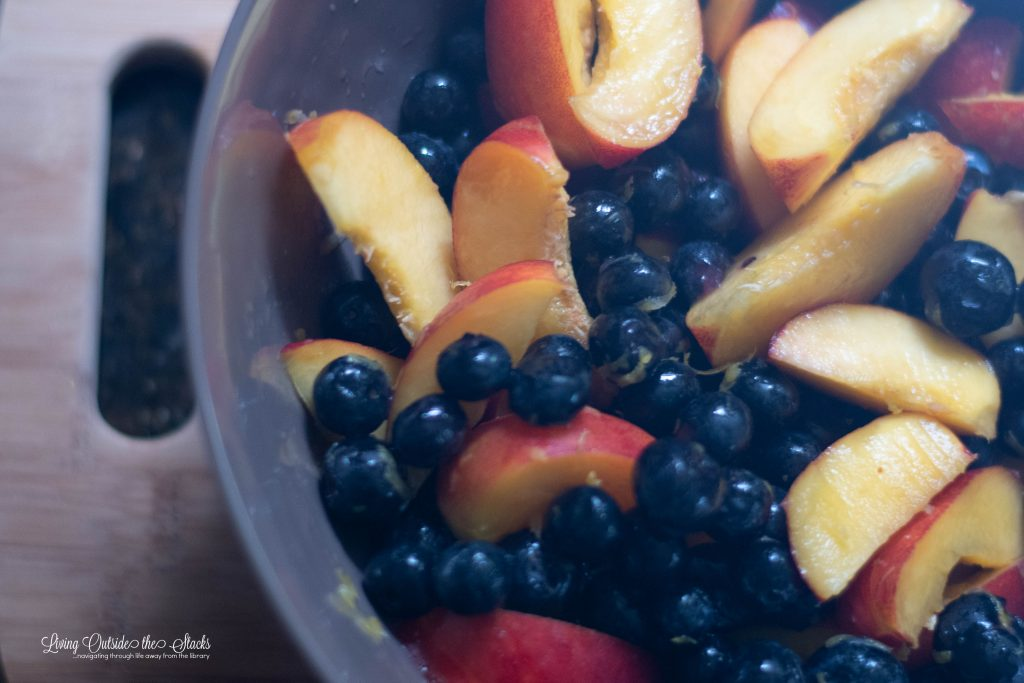 Blueberry Nectarine Pie {living outside the stacks} #CoffeeAndPieChat