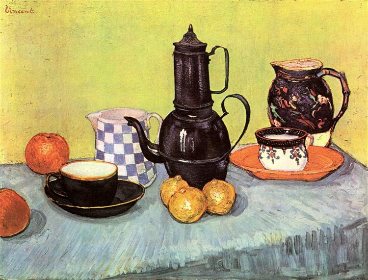 Still Life with Blue Enamel Coffeepot Earthenware and Fruit by Vincent van Gogh