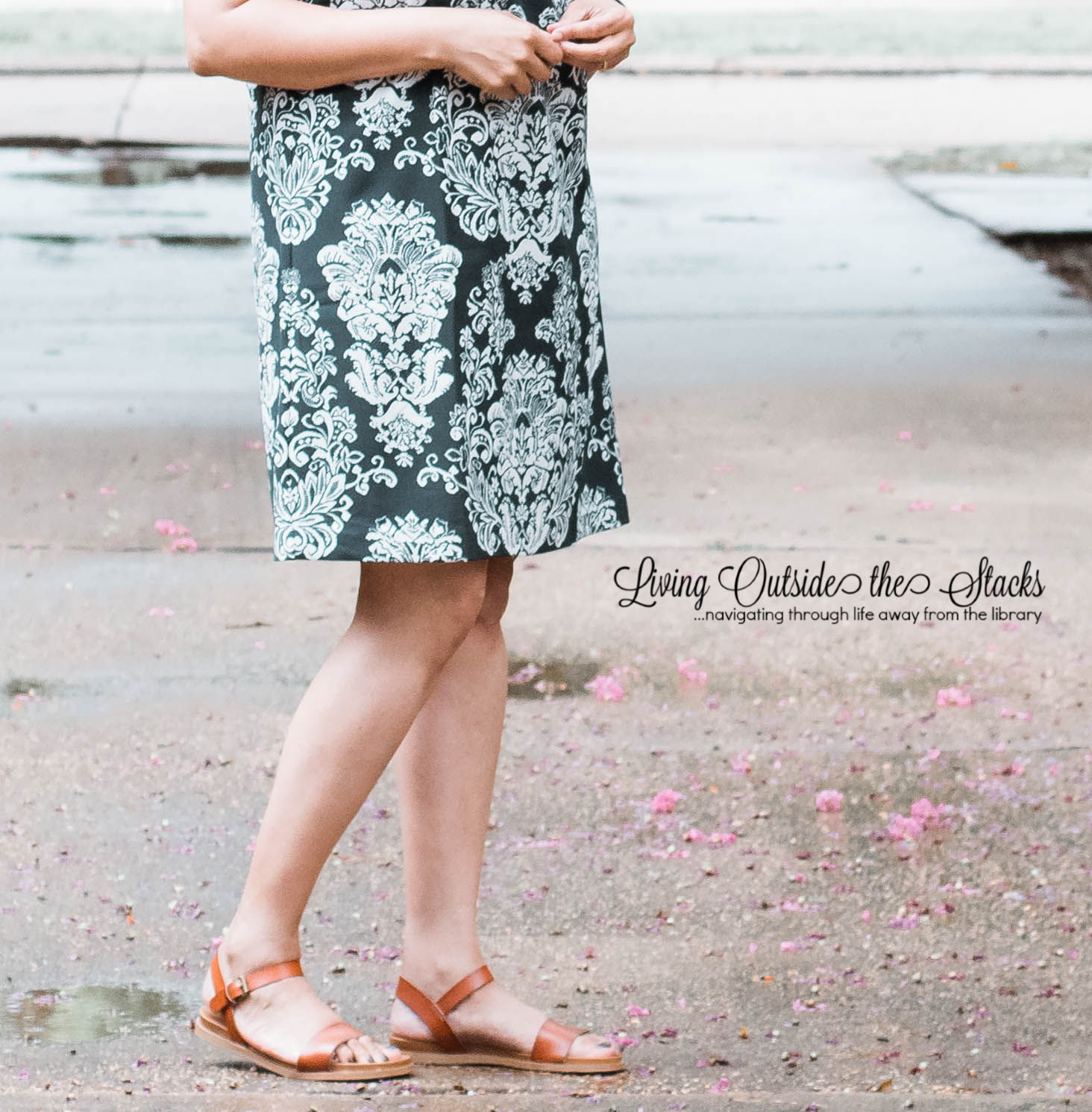 Daenel T {living outside the stacks} Blue Print Dress and Flat Sandals