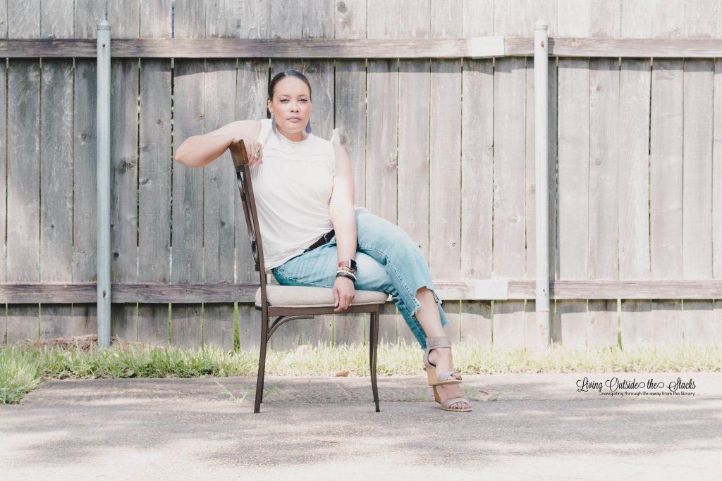 Daenel T {living outside the stacks} Cream Sleeveless Top Step Hem Jeans and Miz Mooz Sandals