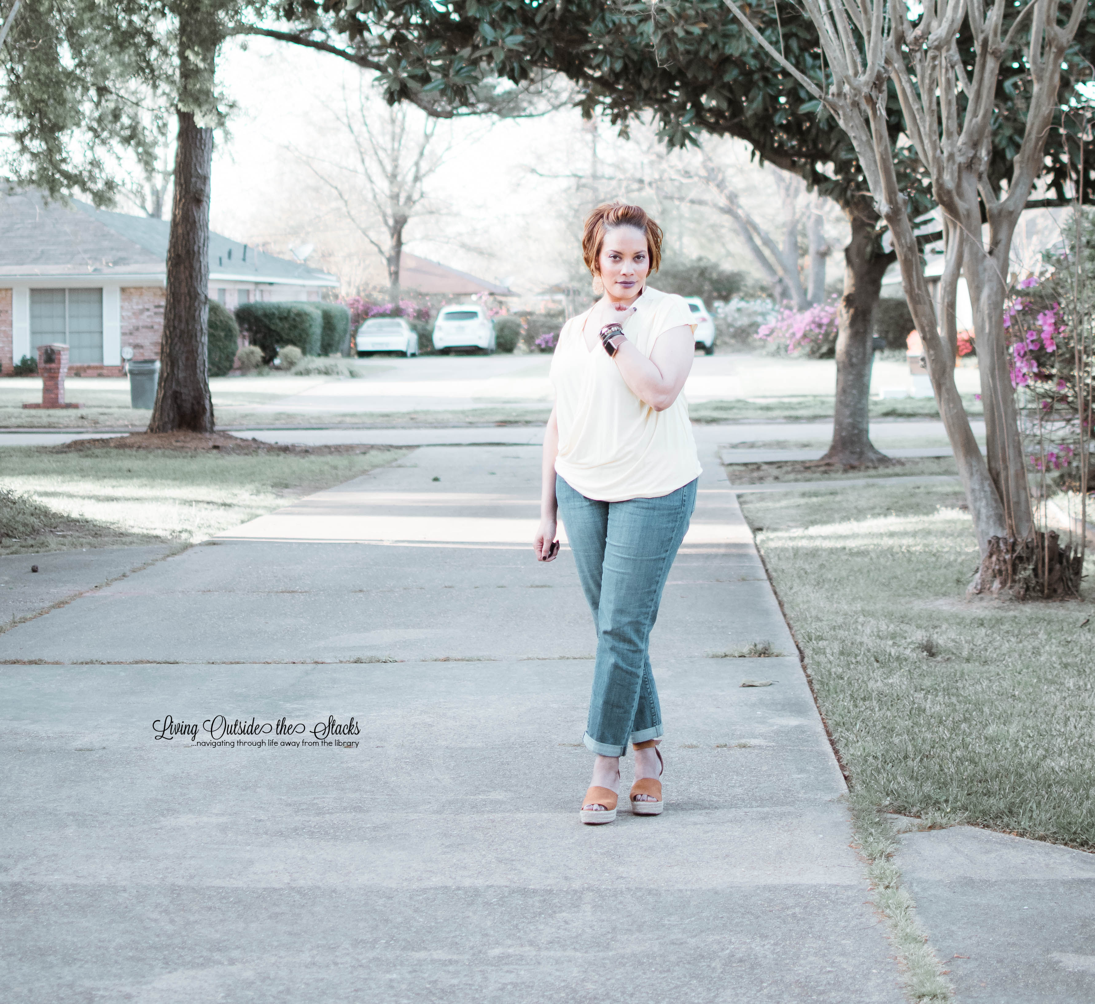 Daenel T {living outside the stacks} Yellow Wrap Top Boyfriend Jeans and Wedge Sandals