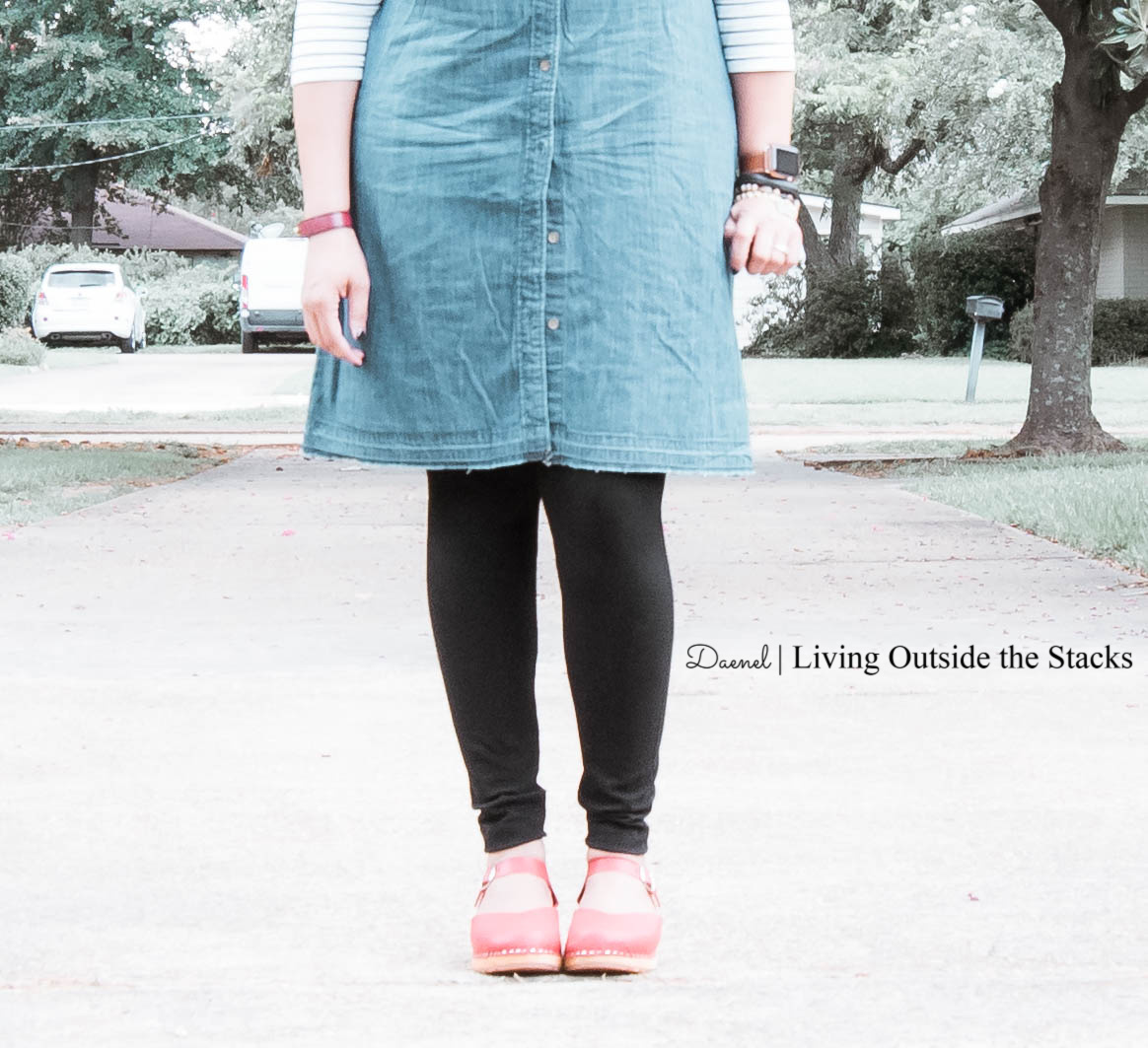 Daenel T {living outside the stacks} Denim Shirt Dress Black and White Striped Tee Black Leggings and Red Clogs