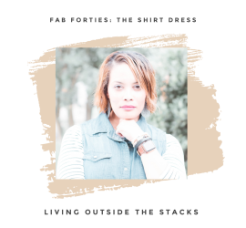Daenel T {living outside the stacks} Denim Shirt Dress Black and White Striped Tee Black Leggings and Red Clogs