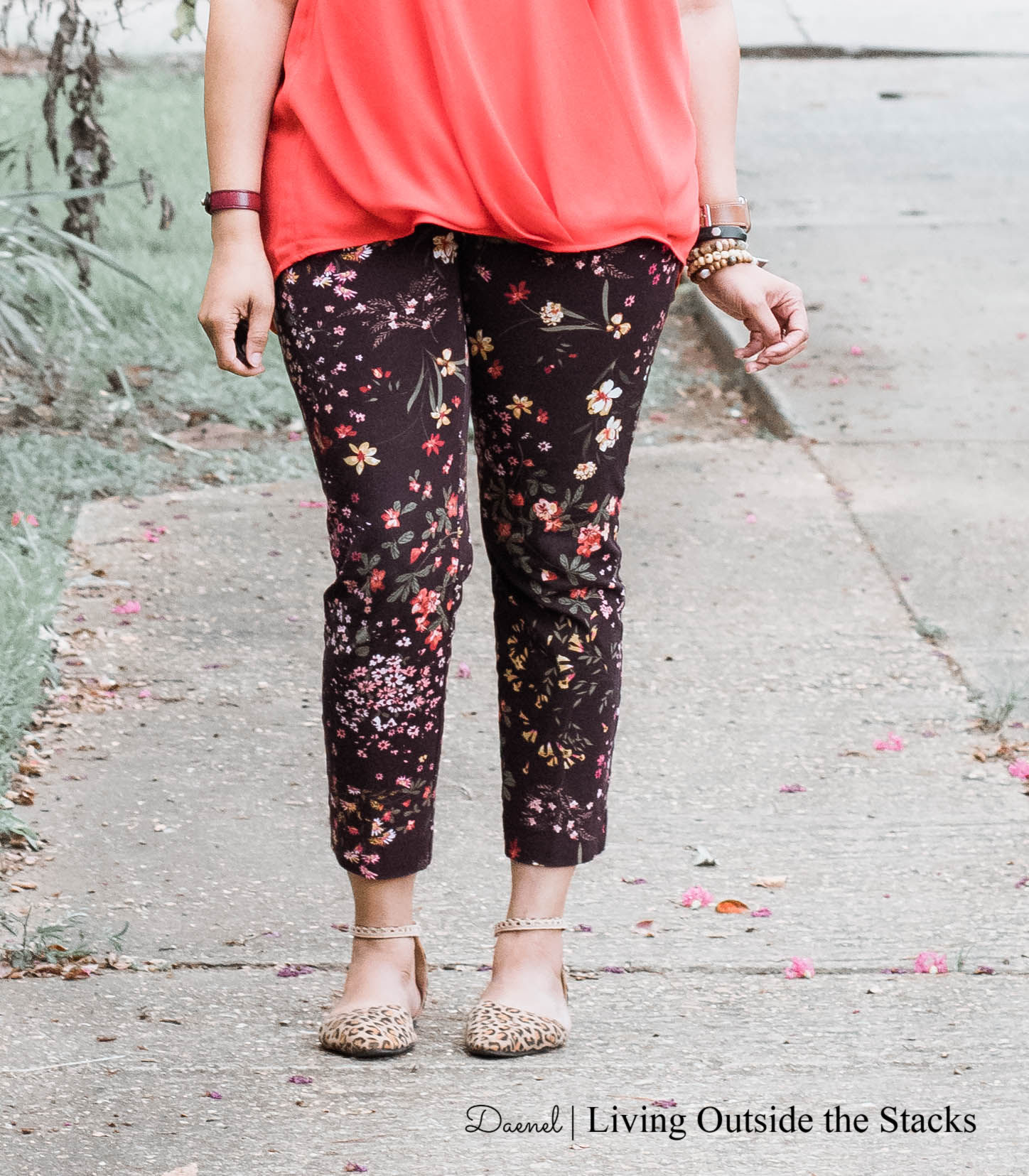 Red Sleeveless Top Dark Floral Pixie Pants and Leopard Print Flats {living outside the stacks}