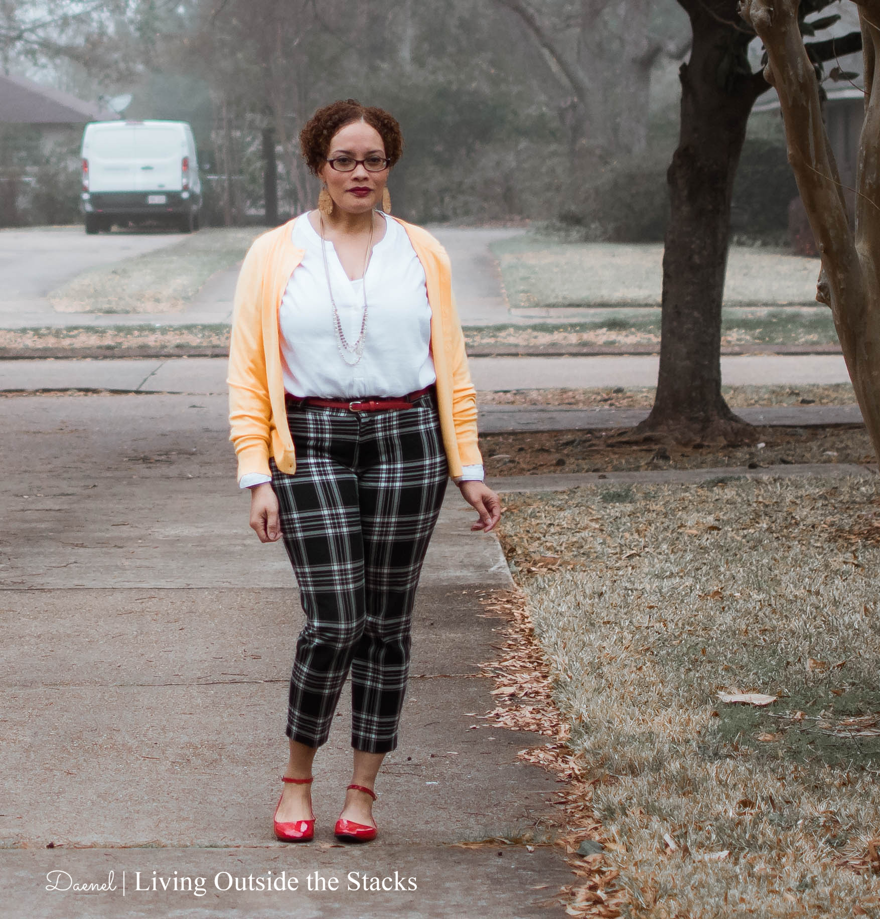 Daenel T {living outside the stacks} yellow cardi white top plaid pants and red flats