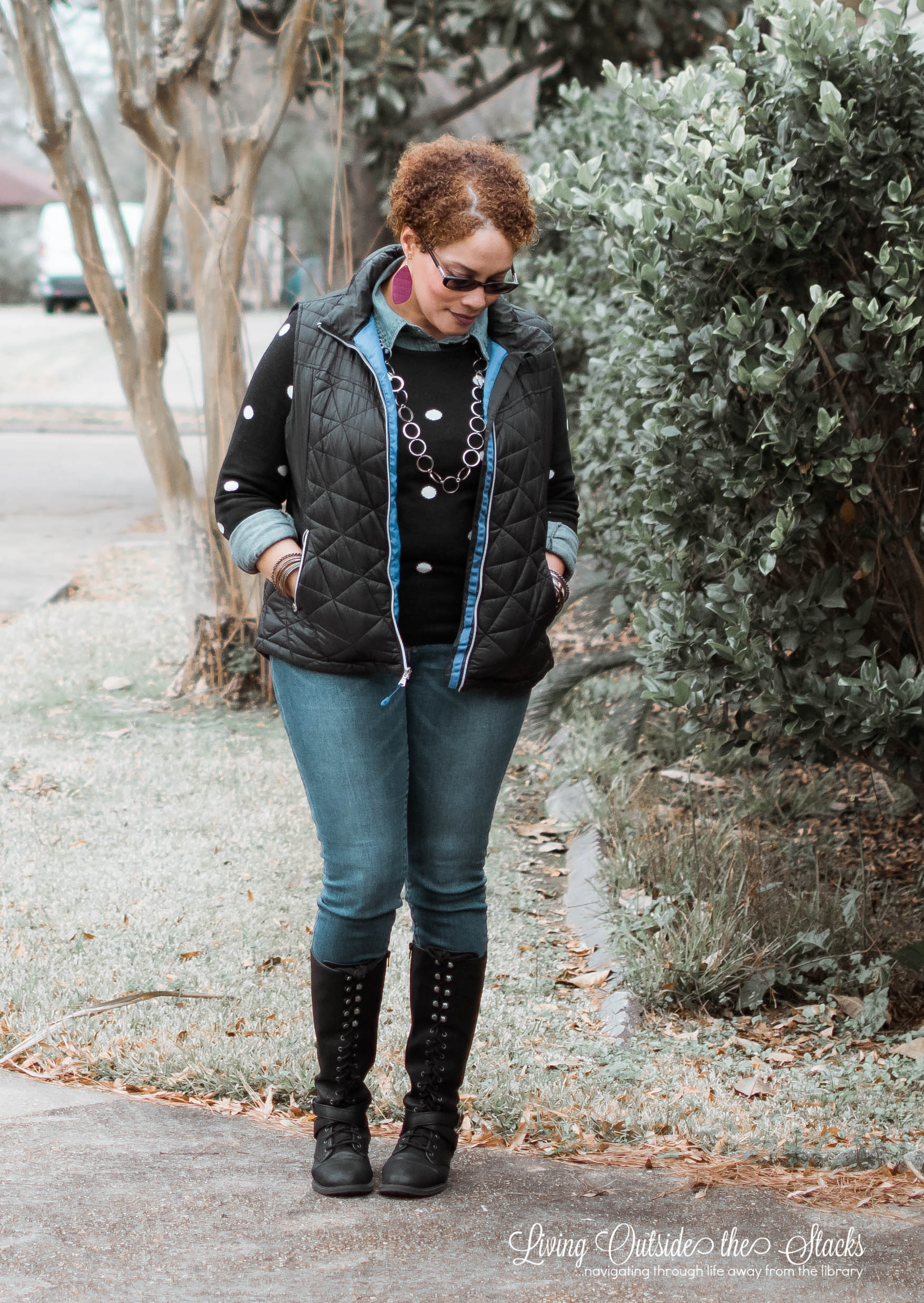 Navy Puffer Vest Black Polka Dot Sweater Denim Shirt Jeans and Black Boots {living outside the stacks}