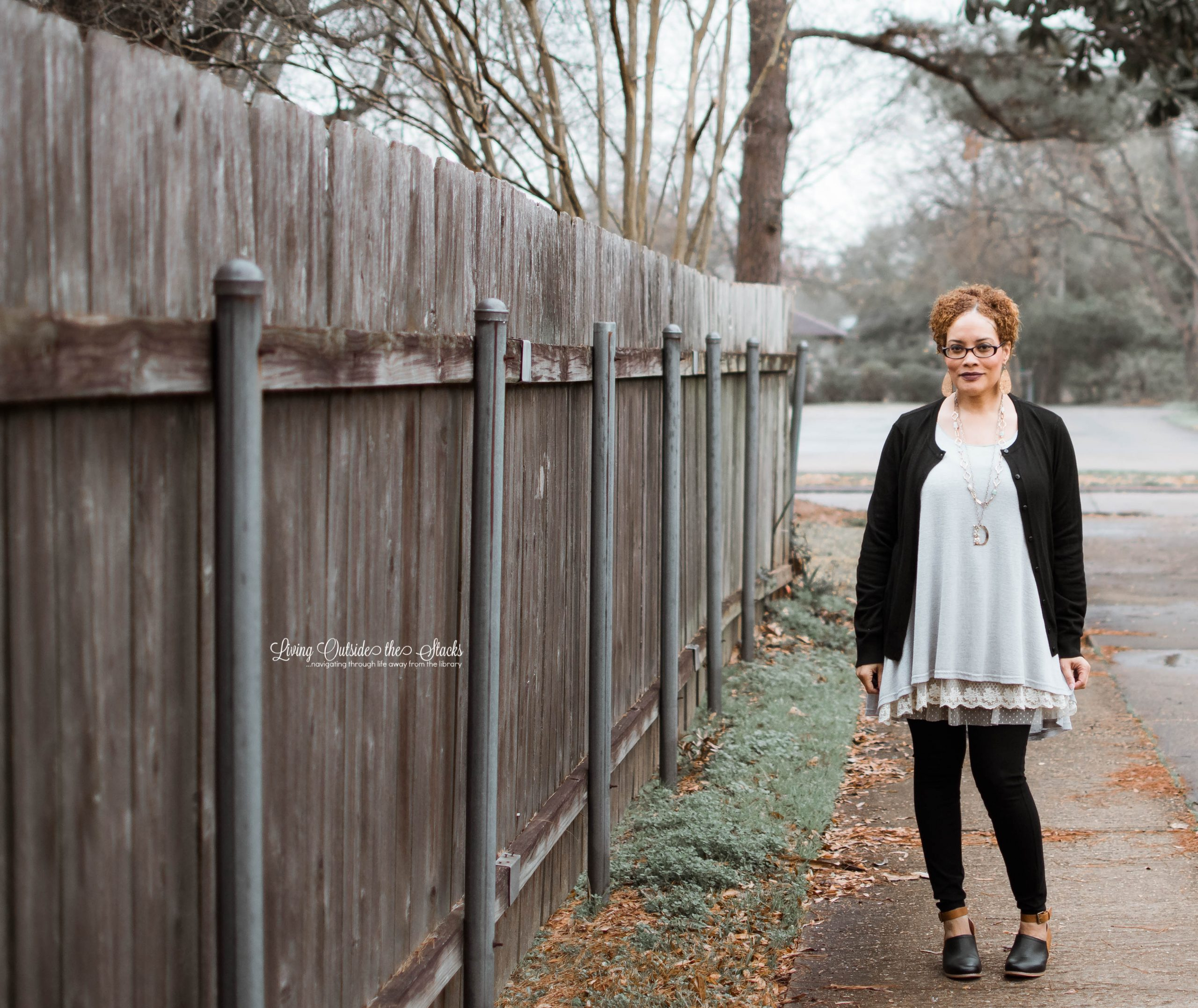 Black Cardigan Gray Tunic with Black Skinny Pants {living outside the stacks}