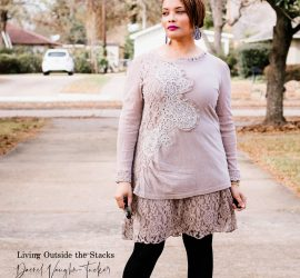 Taupe Tunic Black Tights and Gray Ankle Booties {living outside the stacks}
