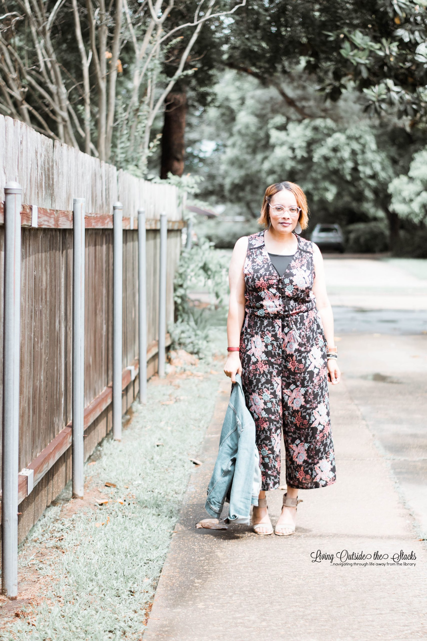 Floral Jumpsuit with Denim Jacket{living outside the stacks}