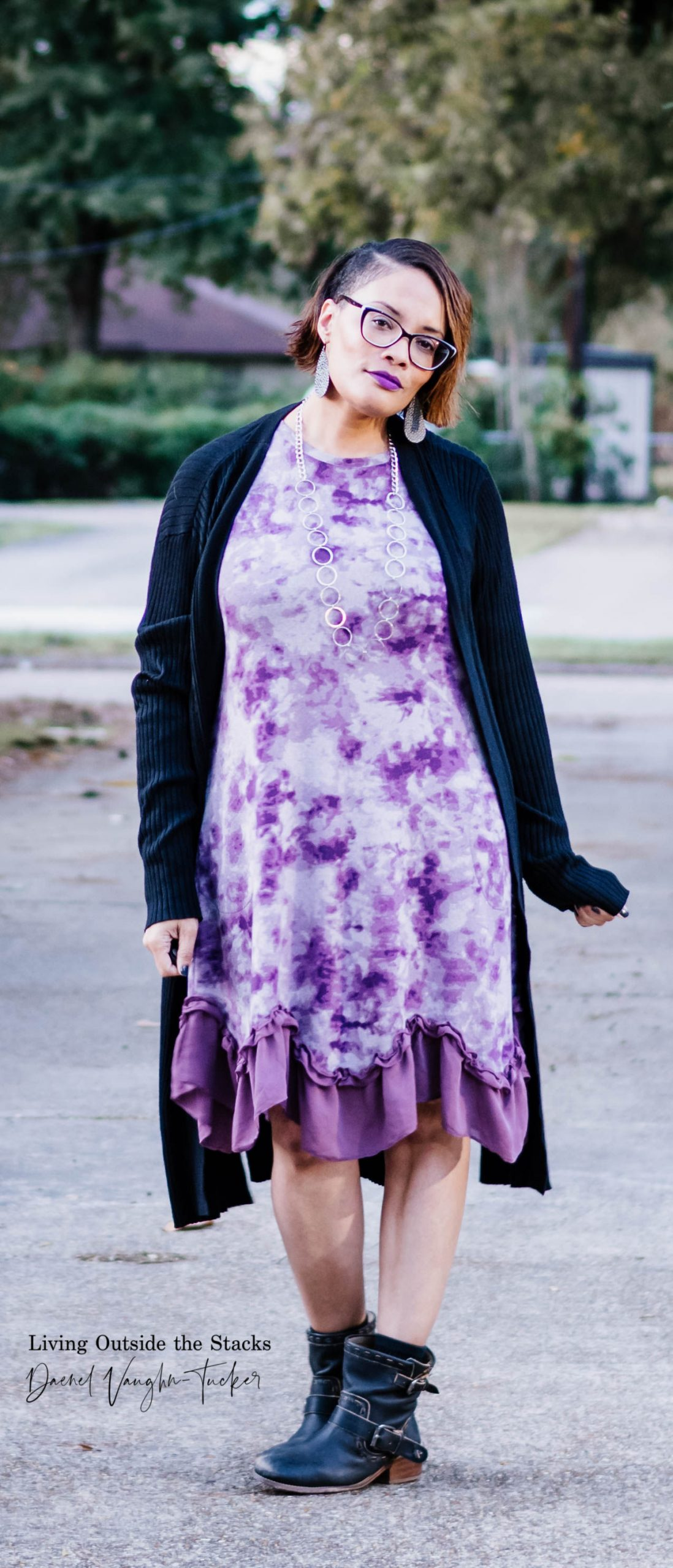 Daenel T {living outside the stacks} Purple Logo Dress and Black Ankle Boots