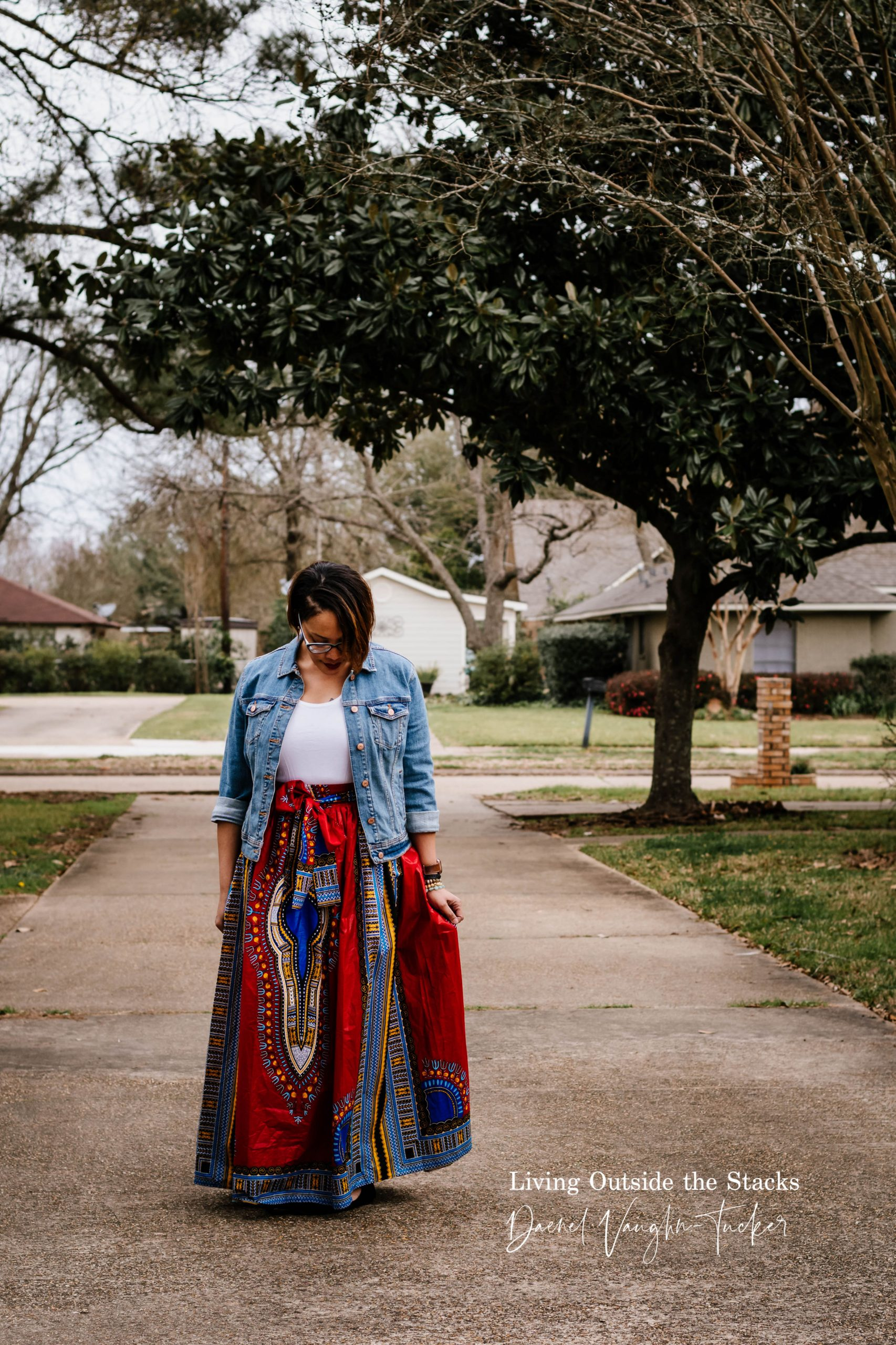 Denim Jacket White Tee Red Skirt {living outside the stacks} Daenel T