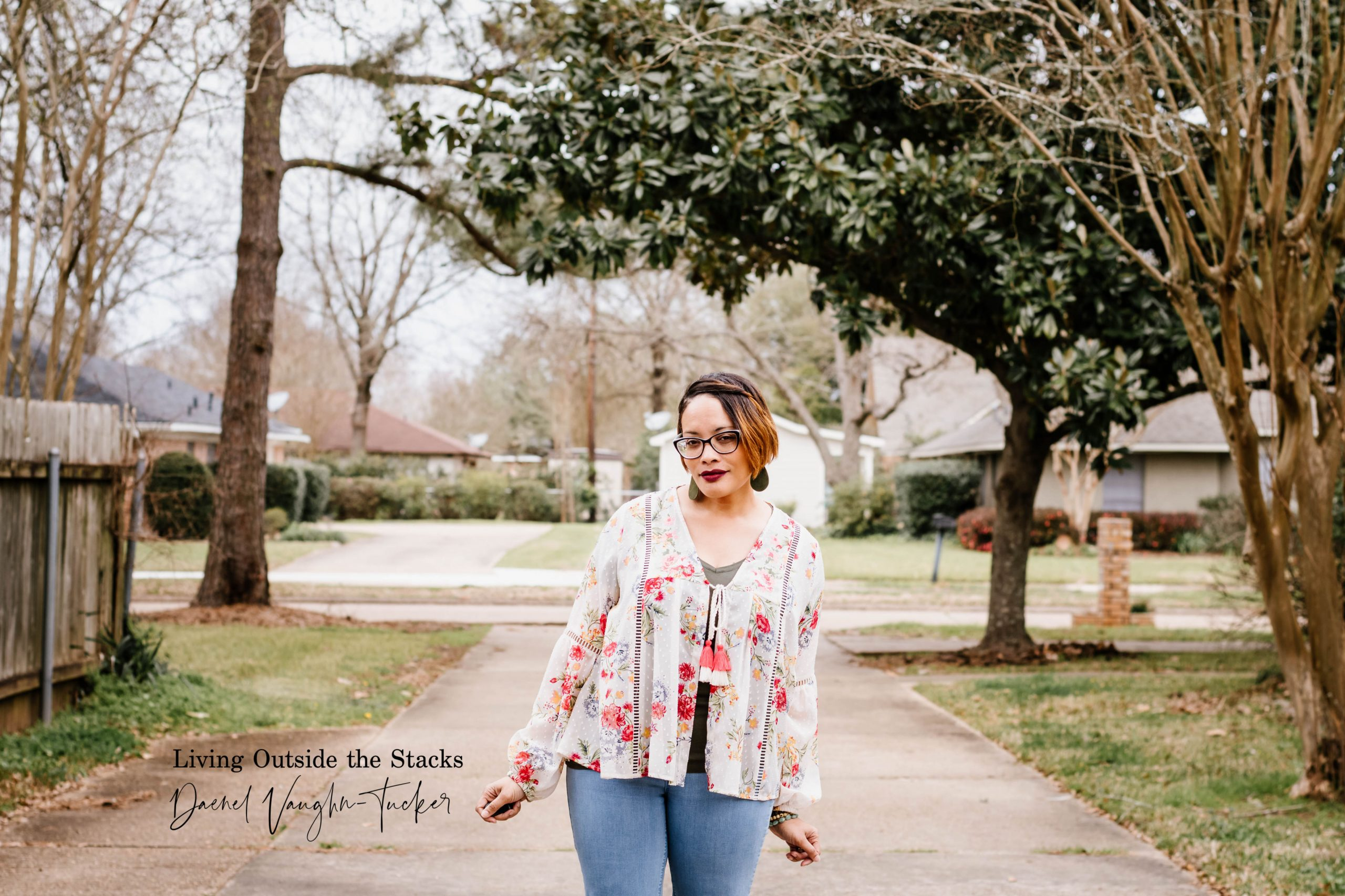 Embroidered Jacket Olive Tee Jeans and Clogs {living outside the stacks}
