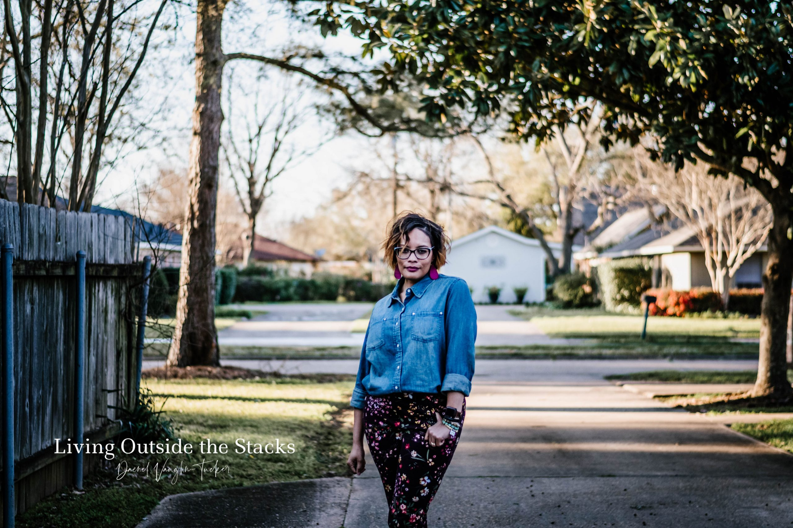 Denim Shirt and Floral Pants {living outside the stacks}
