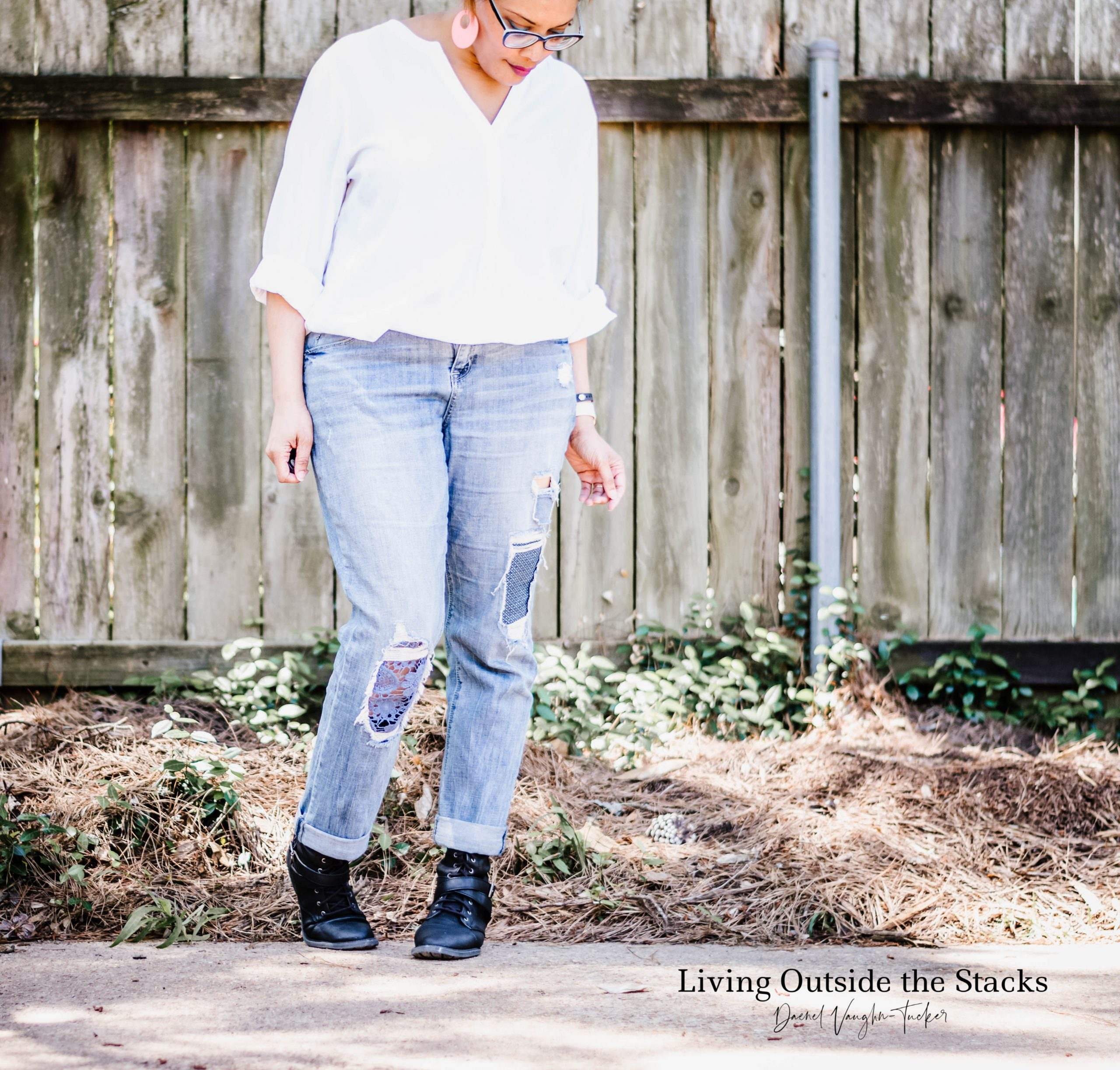White Shirt Patchwork Jeans and Black Boots {living outside the stacks}