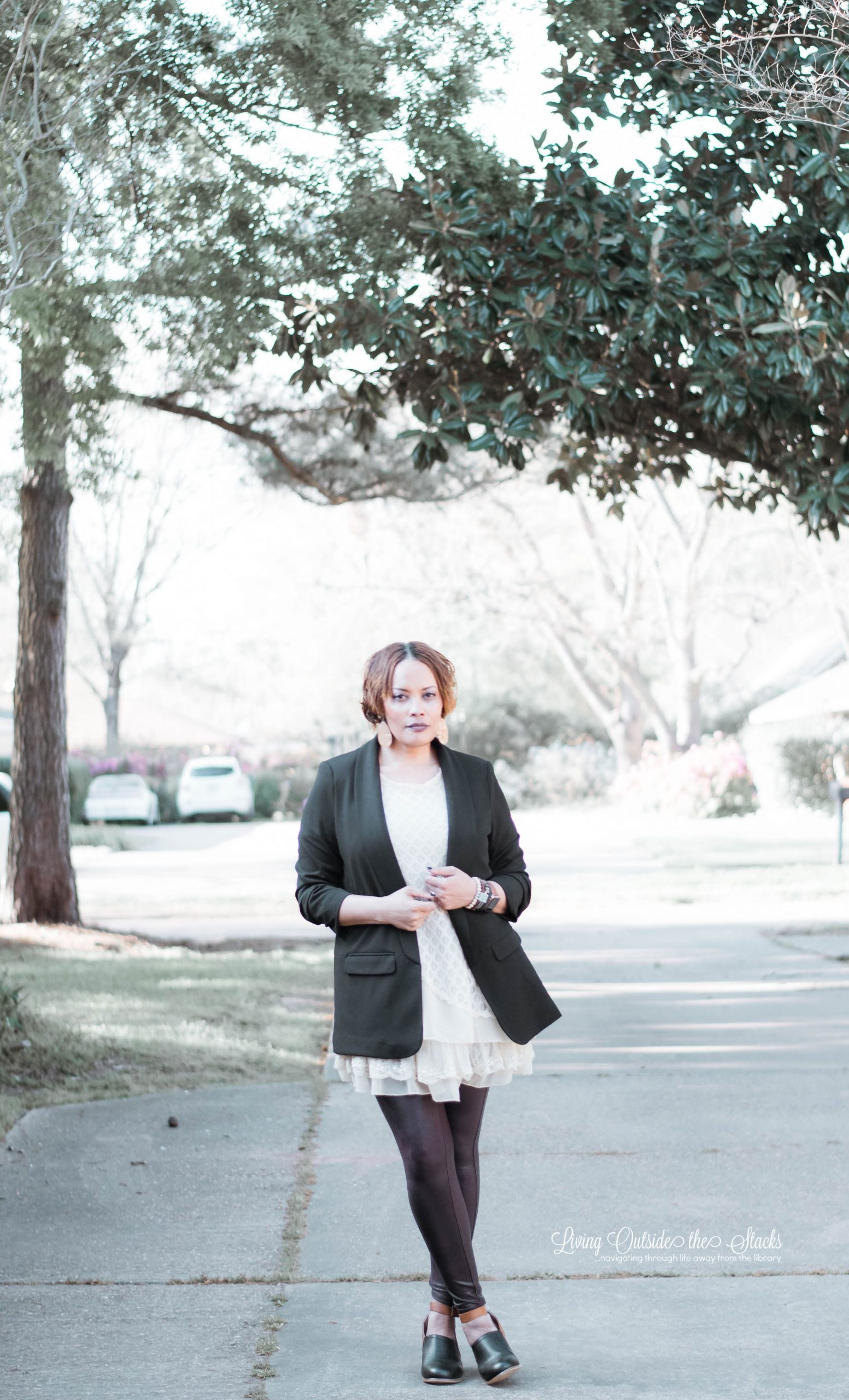 Black Blazer Lace Tunic Spanx Leggings Clogs {living outside the stacks}