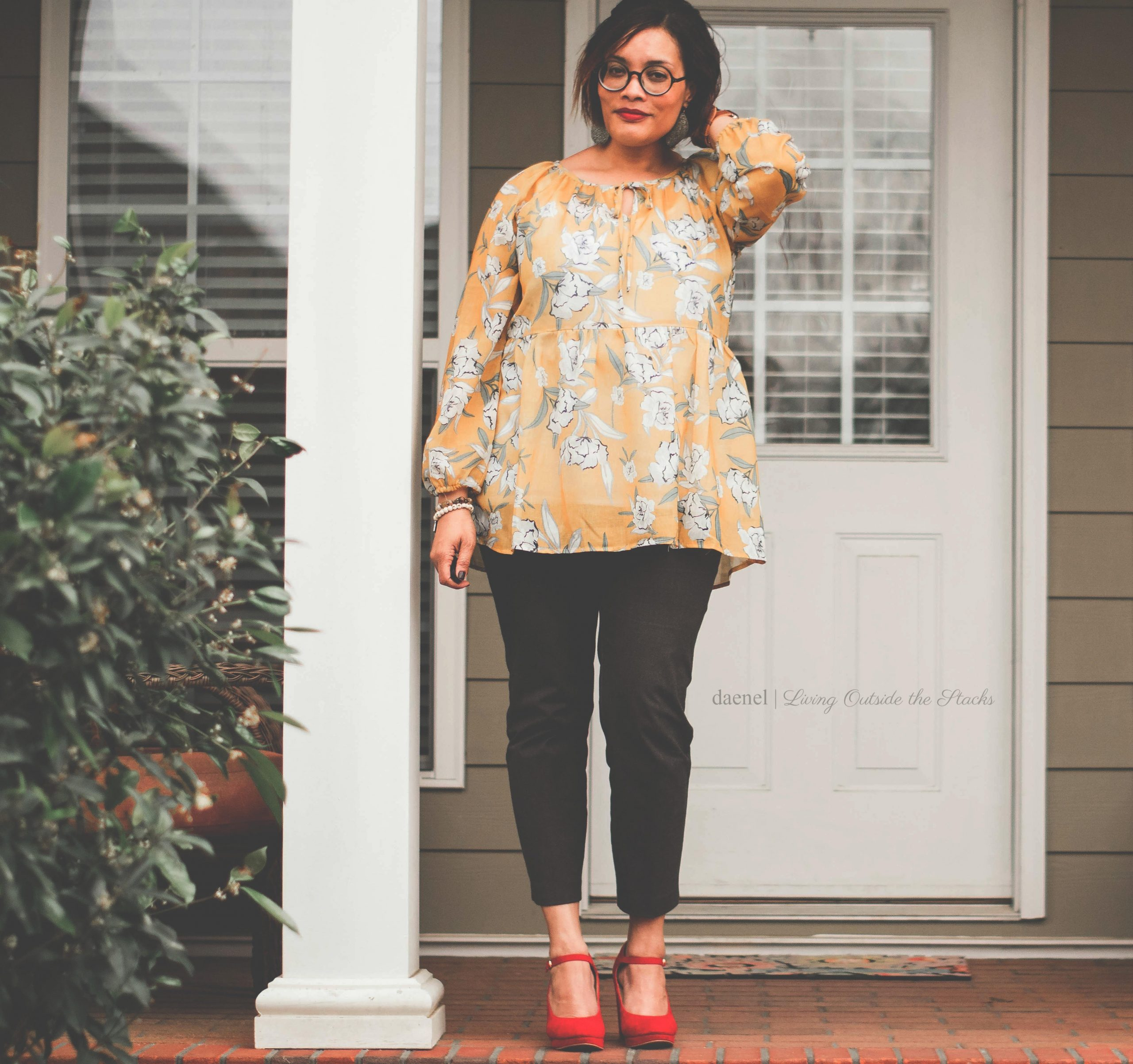 Yellow Floral Top Black Pants and Red Wedges {living outside the stacks}