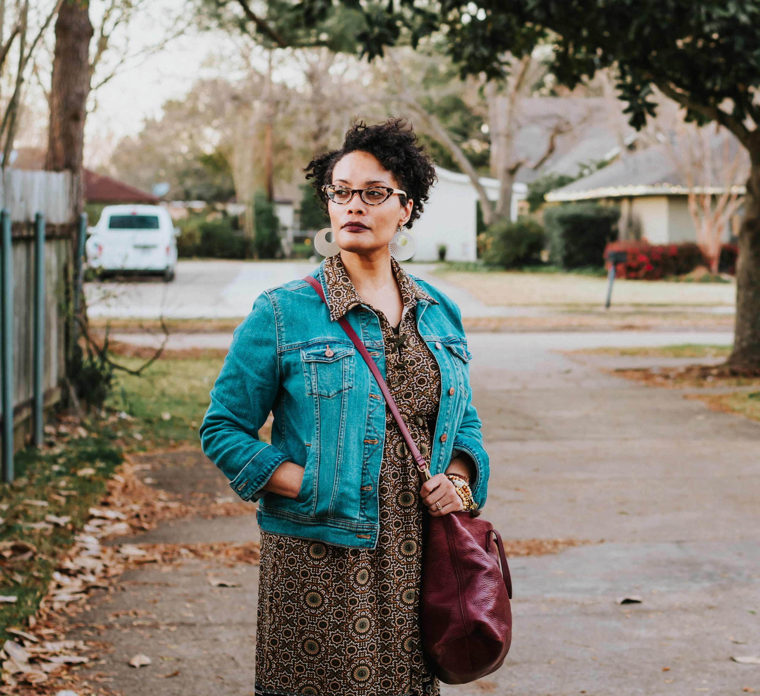 Style Imitating Art {living outside the stacks} denim jacket boho dress and clogs