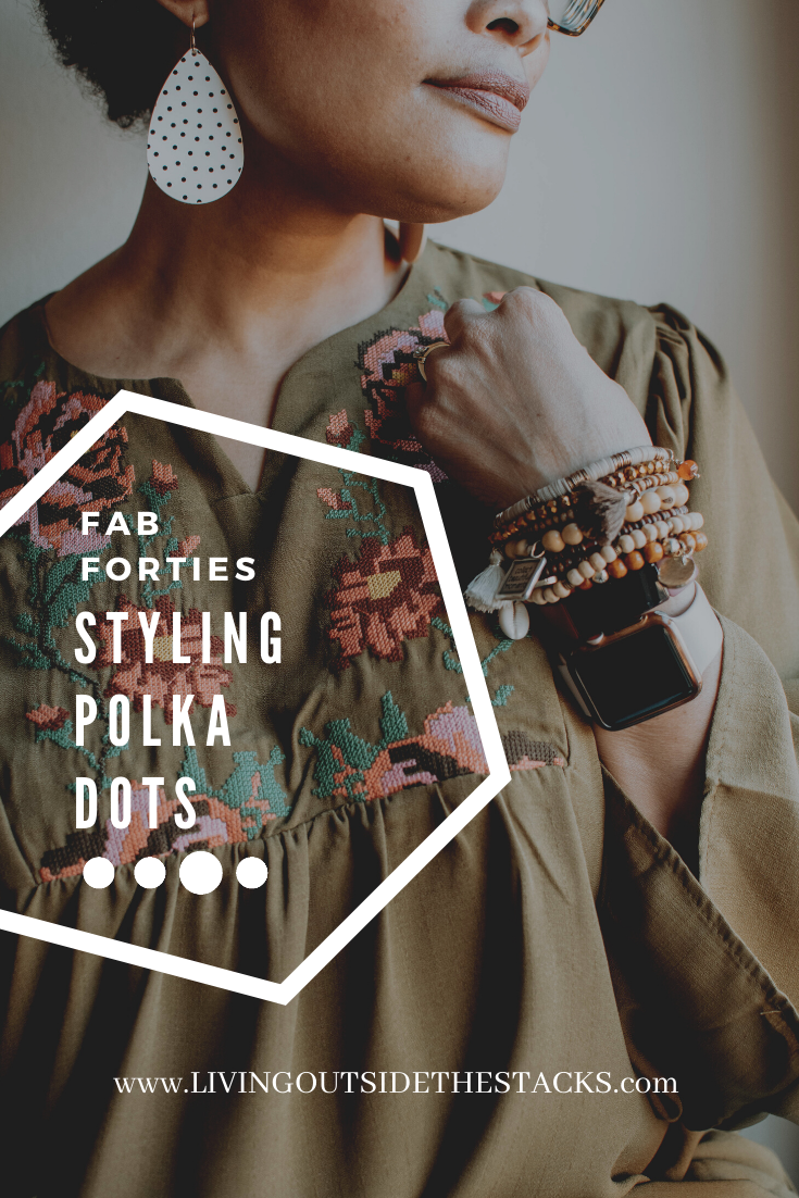 Fab Forties {living outside the stacks} Polka Dot Earrings Embroidered Top and Jeans