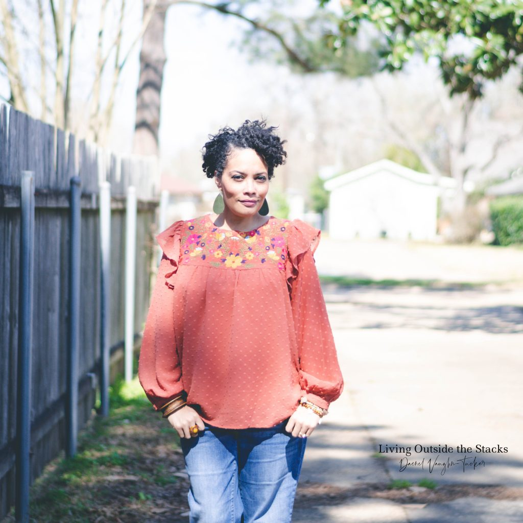 Orange Embroidered Top Jeans and Clogs {living outside the stacks}