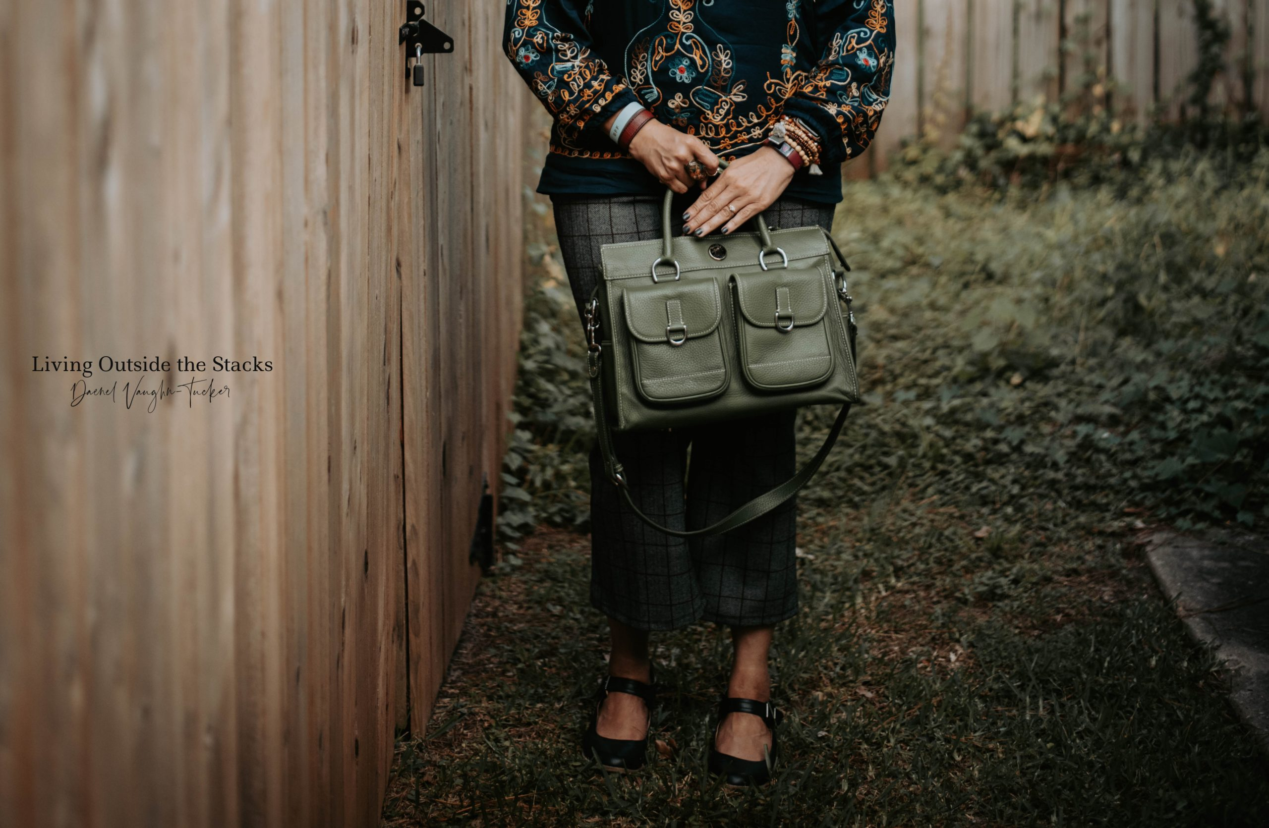 Embroidered Top Tweed Pants and Brogues {living outside the stacks} @DaenelT