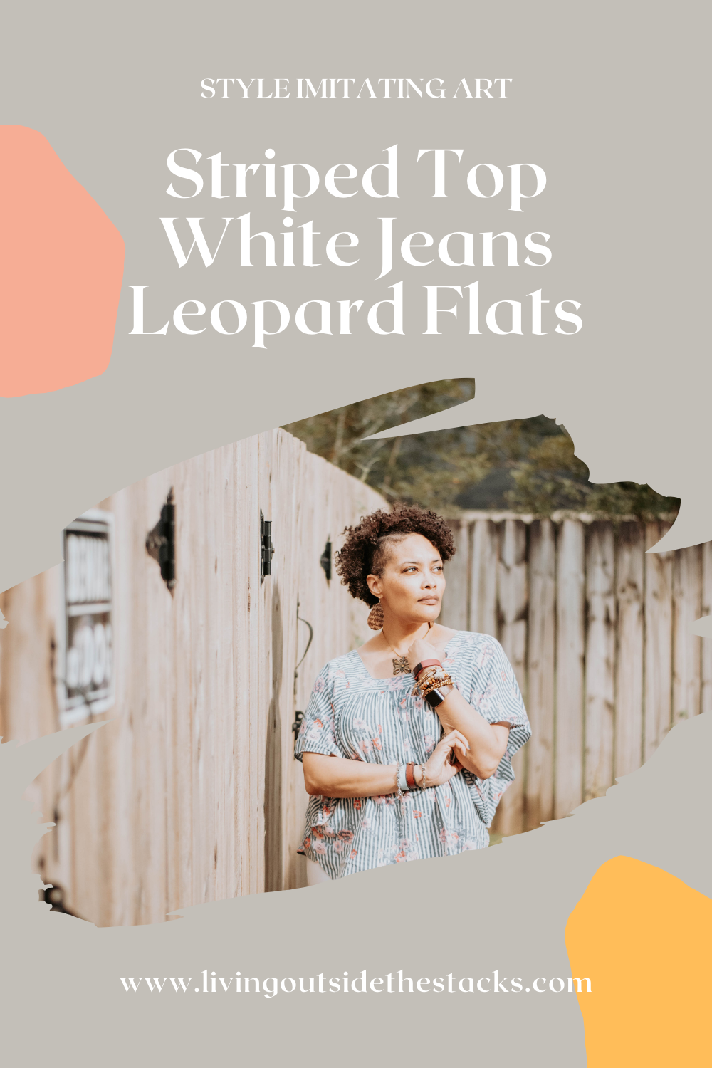 Striped Top White Jeans and Leopard Flats {living outside the stacks} @DaenelT
