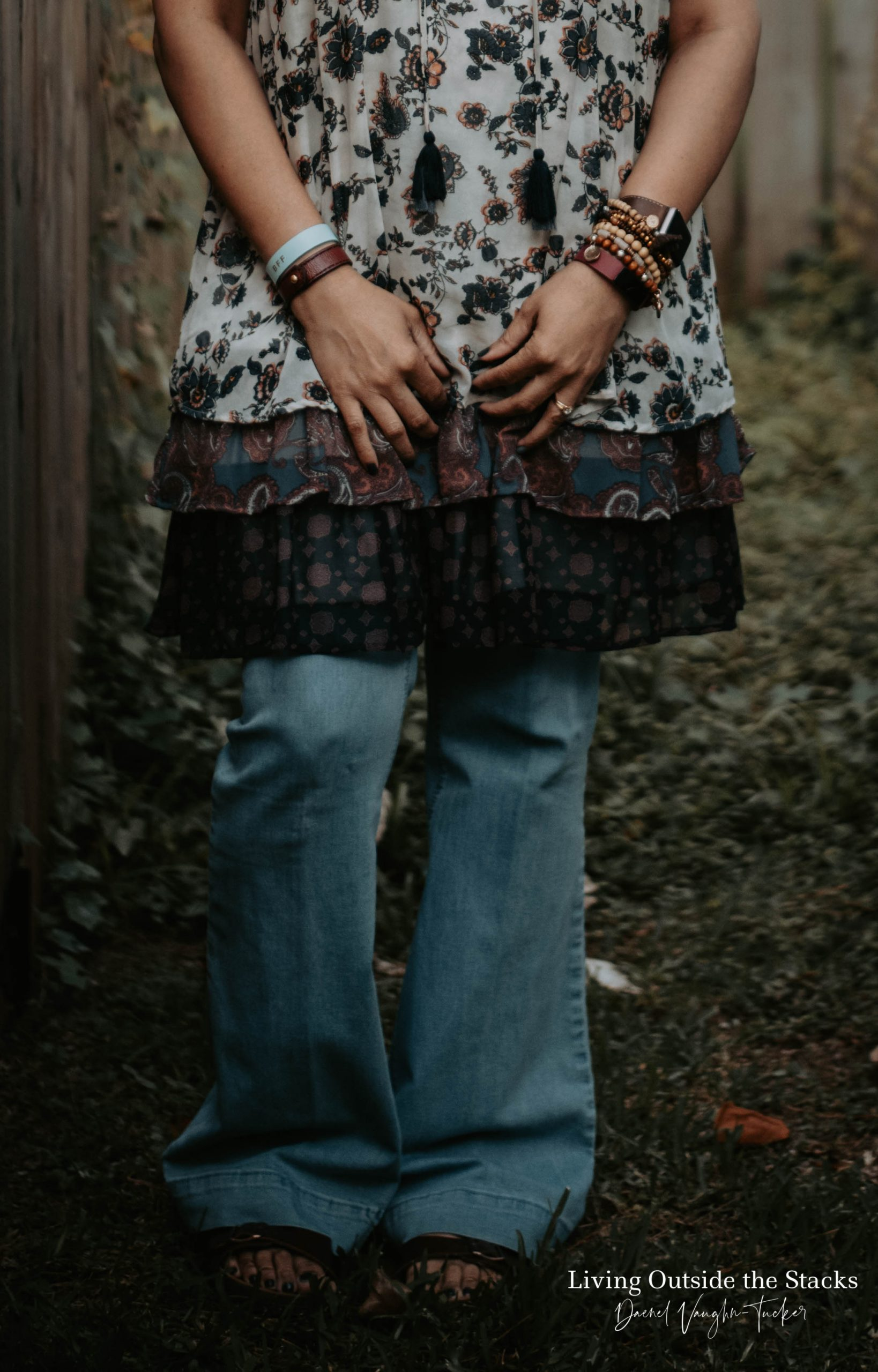 Floral Dress Flare Leg Jeans and Sandals {living outside the stacks} @DaenelT