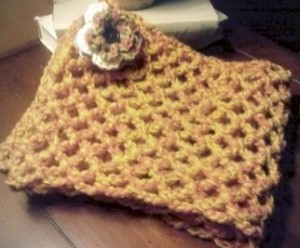 Crocheted Flower Pin and Scarf Set