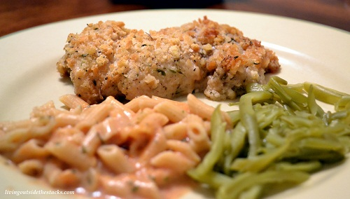 Parmesan Crusted Chicken, Parmesan Tomato Pasta and Green Beans
