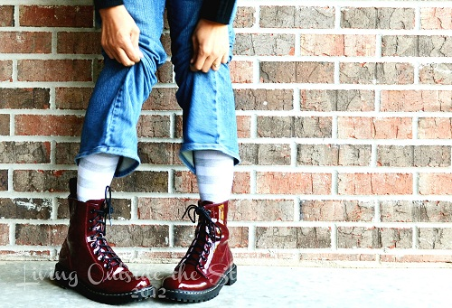 Shiny Red Combat Boots {Living Outside the Stacks}