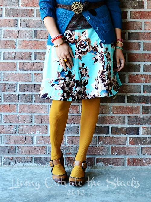 Teal Cardi Teal and Brown Floral Skirt Mustard Tights {Shoe Style Saturday}