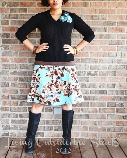 Black Sweater, Brown Cami, Floral Skirt and Black Boots {Living Outside the Stacks}