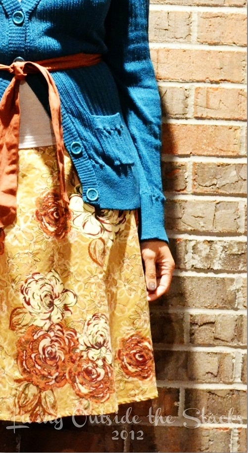 Teal Cardi, Tank and Brown Skirt {Living Outside the Stacks}
