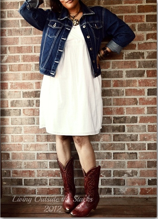 Denim Jacket, White Sundress  and Cowboy Boots {Living Outside the Stacks}