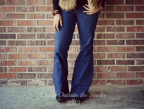 Faux Fur Vest, Black V Neck Sweater, Jeans and Boots {Living Outside the Stacks}