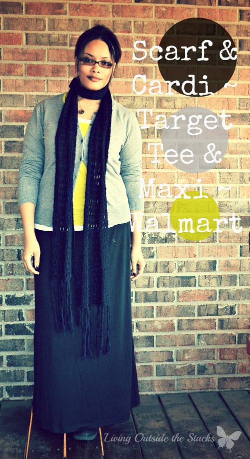 Gray Cardi, Black Scarf, Citron Tee, and Black Maxi {Living Outside the Stacks}