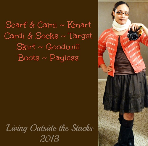 Coral Cardi, Brown Cami, Brown Skirt and Black Boots {Living Outside the Stacks}