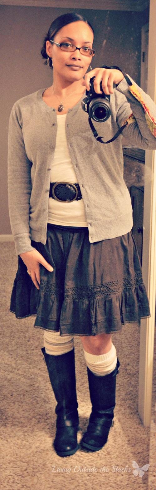 Gray Cardi White Tee Brown Skirt {Living Outside the Stacks}