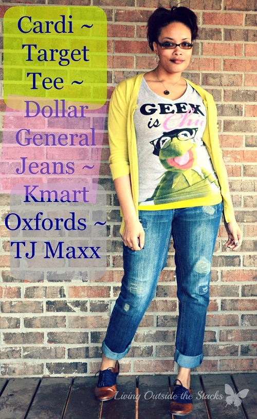 Citron Cardi Geek Tee Jeans and Oxfords {Living Outside the Stacks}