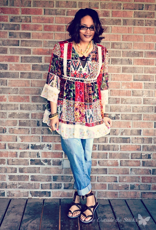 Floral Peasant Shirt, Jeans, Sseko Sandals {Living Outside the Stacks}