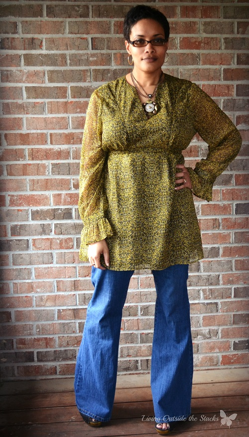 Vintage Yellow Tunic Jeans and Black Wedges {Living Outside the Stacks}