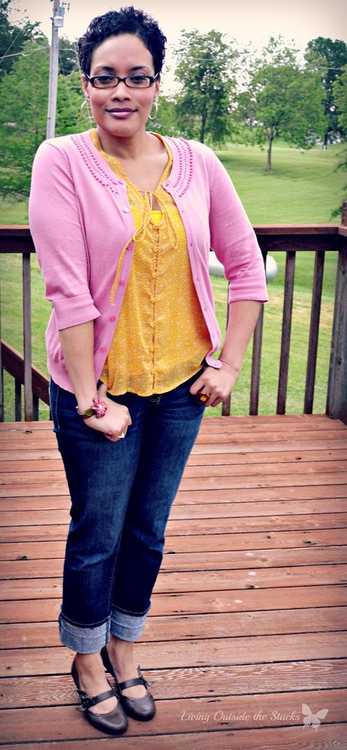 Pink Cardi, Yellow Blouse, and Jeans {Living Outside the Stacks}
