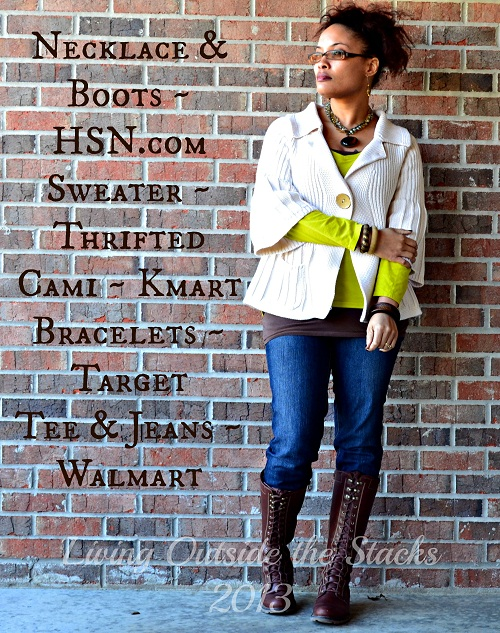 Cream Cardi Citron Tee Jeans and Boots {Living Outside the Stacks}