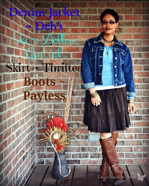 Denim Jacket Blue Tee Brown Skirt and Brown Boots {Living Outside the Stacks}