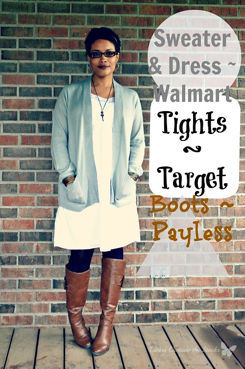 Gray Sweater White Dress Black Tights and Brown Boots {Living Outside the Stacks}
